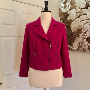 Lane Bryant Plus Size Fuschia Cropped Moto Jacket